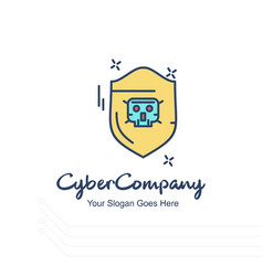 Cyber company sheild logo with white background vector