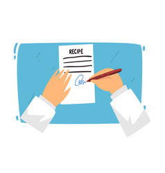 doctor putting signature in recipe blank doctors vector image