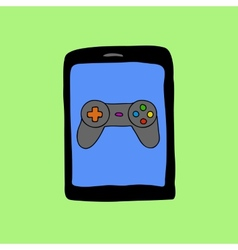Doodle style tablet PC with gamepad vector image