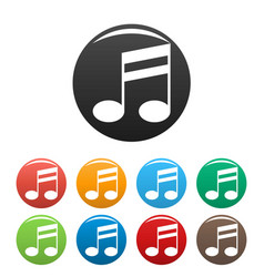 Double bar music note icons set color vector