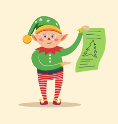 elf holding piece of paper with pine tree print vector image