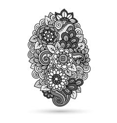 Ethnic floral entangle doodle floral background vector