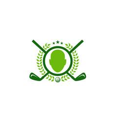 face golf logo icon design vector image