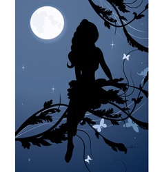 Fairy silhouette1 vector image