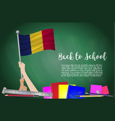 Flag of chad on black chalkboard background vector