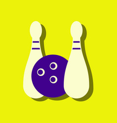 Flat icon design collection kids bowling in vector