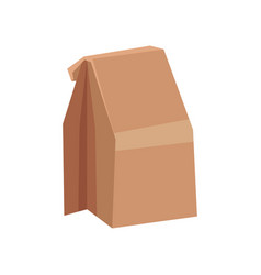 Flat icon of closed brown paper bag with vector