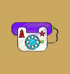 flat shading style icon landline phone vector image