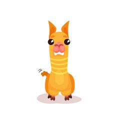 funny llama alpaca cartoon character standing vector image