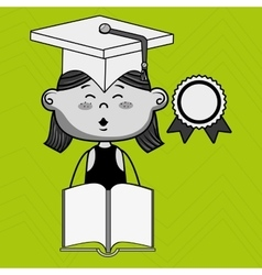 Girl student book cap vector