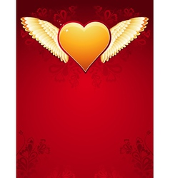 golden heart with wings on red background vector image