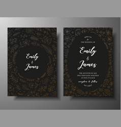 golden wedding invitation with hand drawn vector image