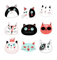 Graphic seamless portraits of cats vector