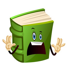 Green book is scared on white background vector