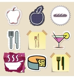 Hand drawn food and drink emblems set Isolated vector image