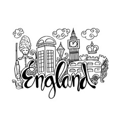 hand drawn symbols of england vector image