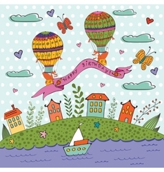 Happy birthday card with hot air balloons and vector