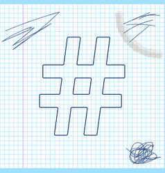 hashtag line sketch icon isolated on white vector image