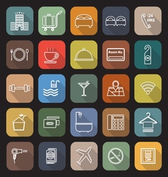 Hotel line flat icons with long shadow vector image