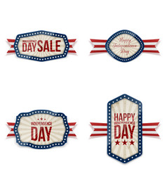 Independence day greeting banners set vector