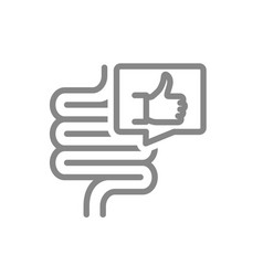 Intestine with thumb up in speech bubble line icon vector