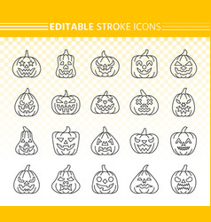 jack o lantern simple black line icons set vector image