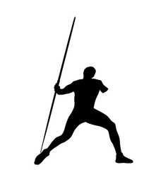 javelin throw male athlete disabled black silhouet vector image