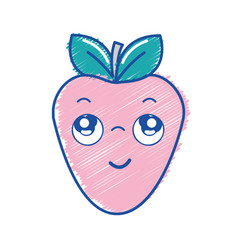 Kawaii nice thinking strawberry icon vector