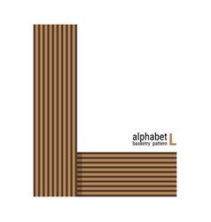 L - unique alphabet design with basketry pattern vector
