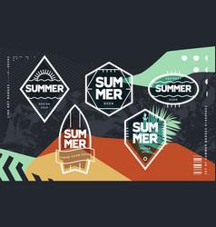 line art geometric summer emblems set vector image