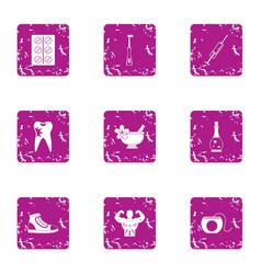Lozenge icons set grunge style vector