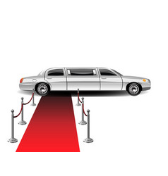 luxury white limousine car and red carpet vector image
