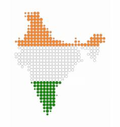 map and flag of india vector image vector image