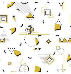 Memphis seamless pattern - gold shapes fashion vector