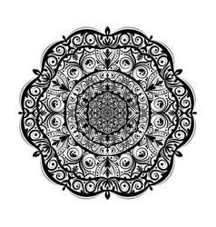 monochrome mandala doodle element in boho style vector image