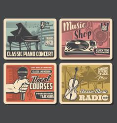 Music shop vocal courses concert retro posters vector