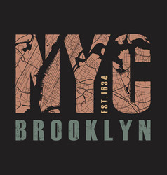 new york brooklyn tee print vector image