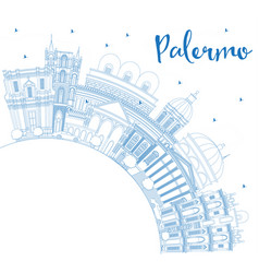 Outline palermo italy city skyline with blue vector
