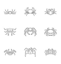 Overland crab icons set outline style vector