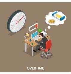 Overtime isometric flat vector image