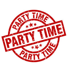 party time round red grunge stamp vector image