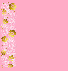 pink background with stripe of flowers vector image