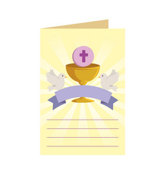 Postcard with first communion in chalice vector