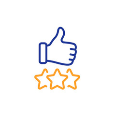 rating stars line icon thumb up hand sign vector image