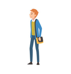 Redhead guy in casual clothes standing with bag vector