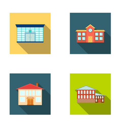 Residential building bank school hotelbuilding vector