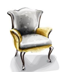 retro armchair watercolor design decor vector image