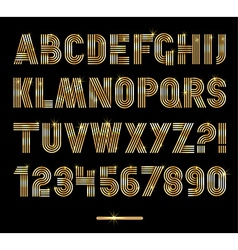 Retro stripes gold fonts settrendy elegant retro vector image