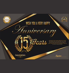 Retro vintage anniversary background 15 years vector