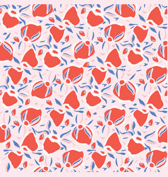rose hip floral leaves seamless pattern vector image